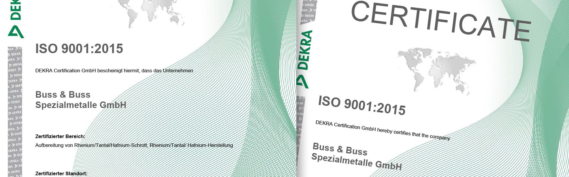 ISO-Zertifizierung für Tantal-Recycling, Buss & Buss GmbH